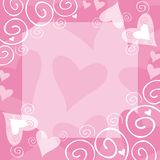Valentine frame. Decorative pink frame with hearts Vector Illustration