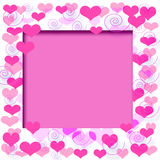 Valentine frame. Valentine pink hearts frame  on cutout  center Stock Image