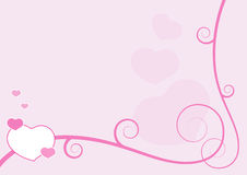 Valentine frame. Valentine pink background with hearts Stock Photography