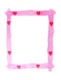 Valentine Frame. Pink frame with red hearts painted on white Stock Image