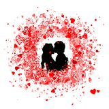 Valentine frame design with couple silhouette Royalty Free Stock Photography