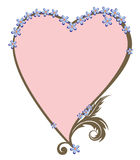 Valentine frame with foget-me-not Royalty Free Stock Photos
