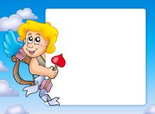 Valentine frame with happy Cupid 3 Royalty Free Stock Photo