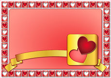 Valentine frame with hearts and golden ribbon Stock Images