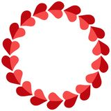 Valentine frame hearts round, vector photo frame for a loved one, template circular hearts for the beloved. Valentine frame of hearts round, vector photo frame stock illustration