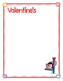 """Valentine frame with love envelopes in mailbox. This is a Valentine's Day frame sized just right for an 8.5"""" x 11"""" printout. Use this to layout party games Royalty Free Stock Photos"""