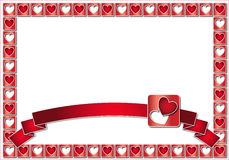 Valentine frame with red hearts and ribbon Royalty Free Stock Image