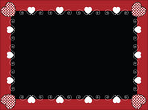 Valentine Frame or Tag With Gingham Hearts. Valentine frame or tag with black copy space and gingham hearts Stock Photos