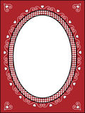 Valentine Frame or Tag With Gingham Trim. Red, black and white Valentine border, frame or tag with gingham trim Stock Images
