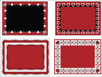 Valentine Frame or Tags With Gingham Trim. Four red, black and white Valentine borders, frames or tags with gingham trim Royalty Free Stock Photo