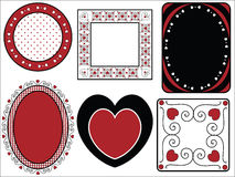 Valentine Frame of Tags With Gingham Trim. Six red, black and white Valentine borders, frames or tags with gingham trim Stock Photography