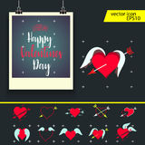 Valentine frame. Vector illustration - valentine`s day icon set Stock Image