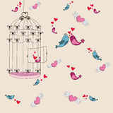 Valentine freedom bird love background Royalty Free Stock Photo