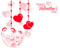Valentine Frog Couple Hearts Background Stock Images