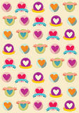Valentine funny hearts pattern. Colored illustration. EPS 10.0. RGB. Illustration can be used as template for events greeting cards or holiday pack. This Stock Photos