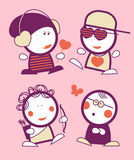 Valentine funny peoples. Set of Valentine in love funny peoples icons Royalty Free Stock Photos