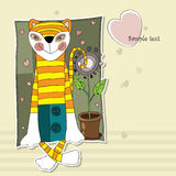 Valentine with funny tiger, flower and heart. Tiger sits next to the flower and smiles Stock Photo