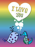 Valentine for gays,  lgbt. Valentine for gays, the heart of bubbles, cartoon fish in the sea, I love you, postcard for 14 February, Rainbow background, lgbt Stock Image