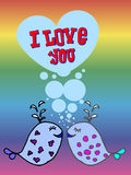 Valentine for gays,  lgbt. Valentine for gays, the heart of bubbles, cartoon fish in the sea, I love you, postcard for 14 February, Rainbow background, lgbt Royalty Free Stock Photos