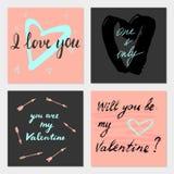 Valentine-geplaatste kaarten Stock Afbeelding