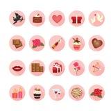Valentine-geplaatste pictogrammen Stock Foto's