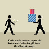 Valentine gift. Kevin would come to regret his last minute Valentine gift Stock Illustration