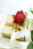 Valentine Gift. Beautiful Valentine Gift with Red Rose Stock Image