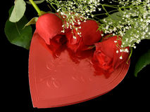 Valentine Gift. Of a box of candies and roses royalty free stock photography
