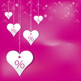 Valentine gift. Valentine heart coupon, sold present vector Stock Photos