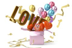 Valentine gift with balloons background.3D illustration. Valentine gift with balloons background. 3D illustration Royalty Free Stock Photos