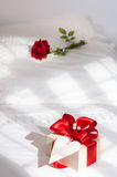 Valentine Gift On Bed Royalty Free Stock Photography