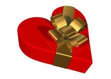 Valentine gift box. With a skewed golden ribbon stock illustration