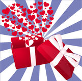 Valentine gift box. Illustration of a valentine open gift box with many hearts. Vector Stock Images