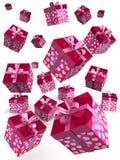 Valentine gift box falling concept. Valentine day concept gift box falling with heart shape pattern 3d illustration Stock Photography