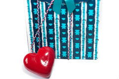 Valentine gift box with a heart Stock Photos