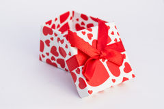 Valentine gift box. Gift box with red hearts Stock Images