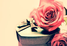 Valentine gift box and rose Royalty Free Stock Photo