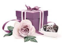 Valentine gift box and a rose, tinted image Royalty Free Stock Photos