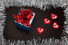 Valentine gift box with small hearts Stock Photography