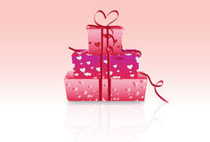 Valentine gift boxes. Vector illustration with gradient background and reflection Stock Image