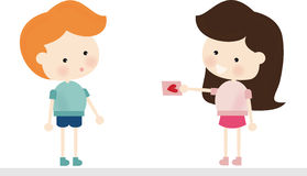 Valentine Gift Card. Illustration of a cute girl giving a valentine card to a boy Stock Illustration