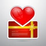 Valentine Gift Card con cuore Fotografie Stock Libere da Diritti