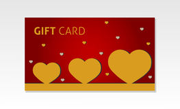 Valentine gift cards. Gift cards with gold hearts Royalty Free Stock Photography