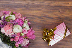Valentine gift with flowers . Royalty Free Stock Image