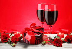 Valentine Gift Heart Shape with Wine and Roses Royalty Free Stock Photos