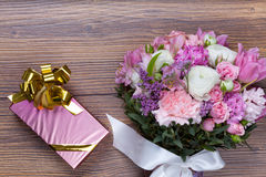 Valentine gift pack with flowers Stock Image