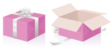 Valentine Gift Pink Package Closed s'est ouvert Photo stock
