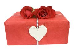 Valentine gift and roses Royalty Free Stock Images