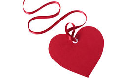 Valentine gift tag, red heart, isolated on white Stock Photos