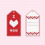 Valentine Gift Tags con el corazón en rojo y blanco Fotos de archivo